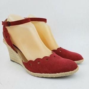 Nine West Red Leather Ankle Strap Wedge He…